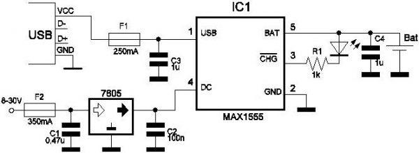 Применение микросхемы MAX1555 в ЗУ