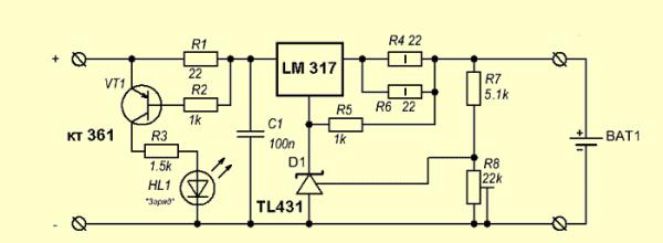 Пример схемы для зарядного устройства литий-ионных батарей