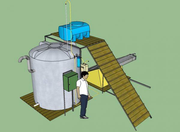 Смонтированная домашняя биоустановка будет выглядеть примерно так