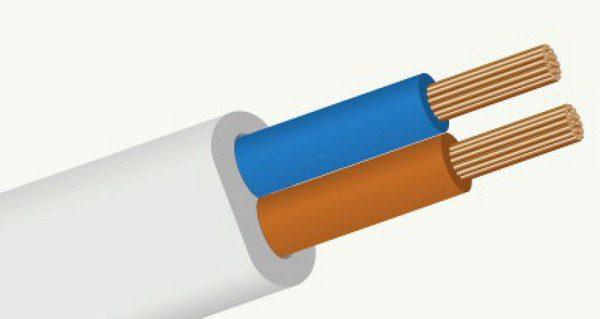 Конструкция кабельного изделия под маркой «ШВВП» с 2 жилами