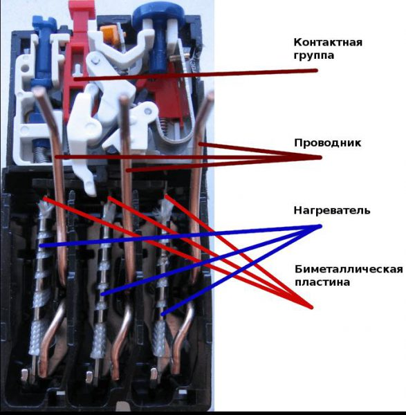 Устройство теплового реле контактора