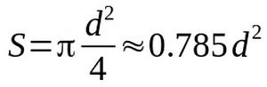 Формула для определения сечения